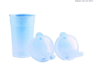 Clear Drinking Cup with Two Lids Eating & Drinking Assistance > Beakers & Cups