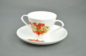 Two Handled China Cup & Saucer Eating & Drinking Assistance > Beakers & Cups